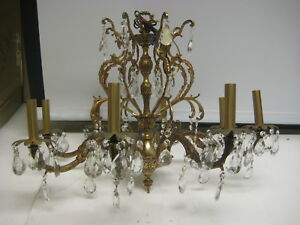 Antique French 8 Lights Bronze With Crystals Chandelier