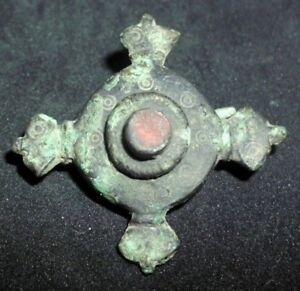 Rare Ancient Roman Cross Shape Bronze Fibula Brooch With Red Stone 1 100 Ad