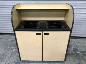 Double Trash Waste Bin Cabinet Inner Garbage Can Liner 9002 Commercial Cart