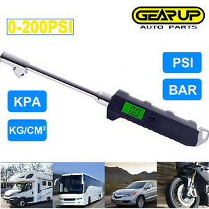 200psi Digital Tire Air Pressure Gauge Check Truck Rv Bike Auto Cars Tester Lcd