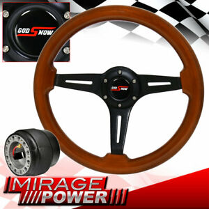 Black Center Light Wood Deep Dish Steering Wheel For 89 05 Eclipse Hub Adapter