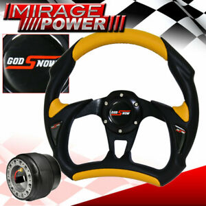 For 00 05 Eclipse 320mm Racing Steering Wheel Pvc Yellow Black Godsnow Horn