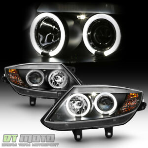 2003 2008 Bmw Z4 Black Led Halo Hid Version Projector Headlights Headlamps Set