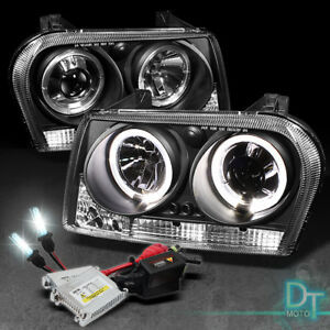 6000k Slim Xenon Hid Black 08 10 Chrysler 300 Dual Halo Projector Led Headlights