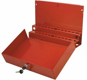 Sunex 8011 Large Locking Screwdriver And Pry Bar Holder For Service Cart Red