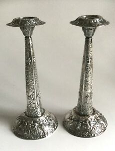 Pair Of Vintage Barbour Repousse Candlesticks Silver Plate Dutch Scenes
