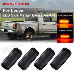 4x Smoked Led Fender Side Marker Lights For 10 18 Dodge Ram 2500 3500 Dually Bed