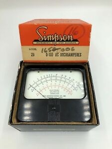Vintage Simpson Panel Mt Volt Ohm Meter In Box Model 29 0 100 Dc Microamperes