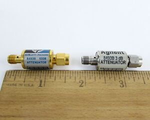 Lot Of 2 Hp Agilent Sma Attenuator 8493b 10db 3db Dc 18ghz 2 Watt