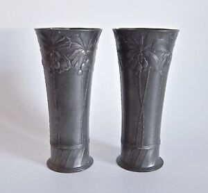 Antique Orivit Of Germany Spill Vase Pair With Palm Trees Circa 1900
