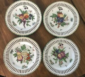 4 Vtg United Wilson Reticulated Porcelain Weave Fruit Insect Motif 9 Wall Plates