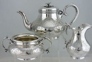 Antique Silver Plate Victorian Tea Coffee Set Pot Bowl Creamer Flower Knob