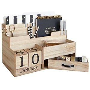 Wooden Mail Office School Supplies Organizer Desktop With Block Calendar For