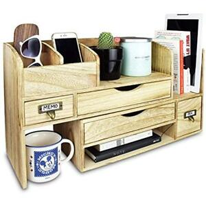 Adjustable Wooden Drawer Organizers Desktop Office Supplies Storage Shelf Rack