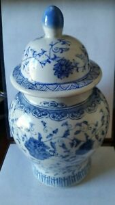 Chinese Ginger Jar Blue And White Floral Design 6 W X 11 Tall