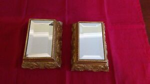 Display Platform Stand Beveled Mirror Ornate Gold Base Set Of 2 7 X 5