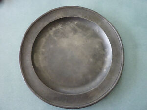 Antique Pewter Charger Plate With Backstamp Marked B P London