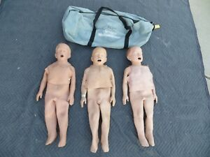 Lot Of 3 Simulaids Infant Training Manikins With Bag