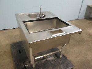 H d Commercial Bar Ss Service Station W insulated Ice Bin Wash Sink W faucet