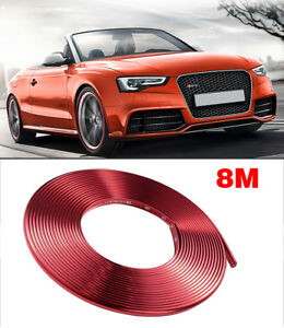 New 8m Glossy Red Car Wheel Hub Rim Trim Tire Ring Guard Rubber Strip Protector