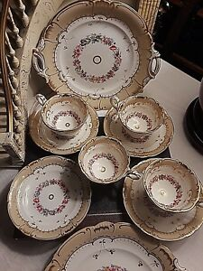 4 Elaborate Antique Porcelain Cups And Saucers And 2 Dessert Plates Circa 1870