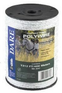 Dare Products Electric Fence 1312 White Poly Wire 2347