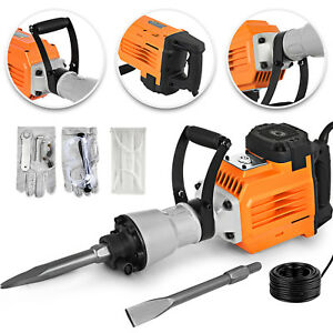 3600w Electric Demolition Jack Hammer Punch 2 Chisel Bits W Gloves Chip Block