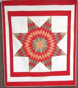 Changing Colors Vintage Star Quilt Mennonite Amish Red Green Gold