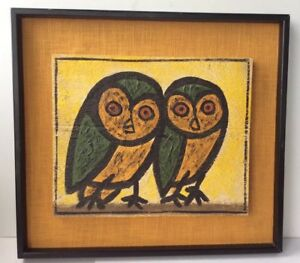 Vintage Mid Century Danish Modern Owl Art Painted Wood Framed Mcm