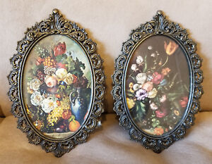 2 Vintage Ornate Oval Brass Glass Picture Frames Flowers Made In Italy 8 X 5