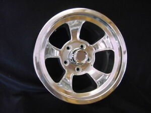 15x8 Ridler Gasser Halibrand Mag Rat Hot Rod Style Polishedaluminum Wheel 5x4 75