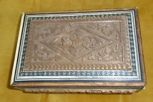 Genuine Antique Carved Cedar Of Lebanon With Mother Of Pearl Vintage Trim Box