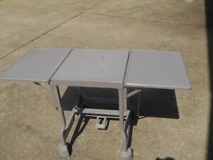 Used Heavy Duty 36 Mobile Typing Table Steel Frame Casters Two Wingshelfs