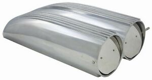 Polished Aluminum Finned Top Shotgun Intake Air Scoop Single Dual Carb Rat Rod