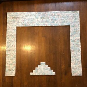 Vintage Antique Victorian Fireplace Tile Surround Mantle Complete Set Alahambra