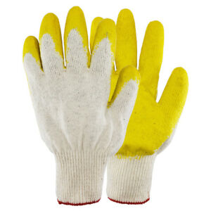 Work Gloves Pairs Yellow Latex Rubber Palm Coated made In Korea Us Ship