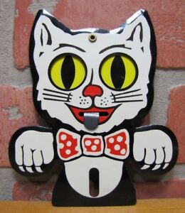 Vtg Krazy Kat Tin License Plate Topper Nos Auto Bicycle Motorcycle Moving Eyes