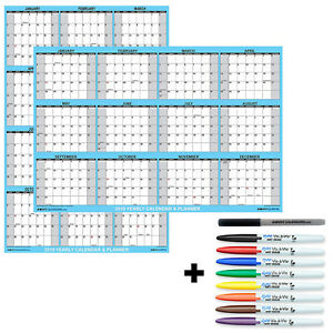 2019 Wall Calendar Poster Laminated 32x48 Plus 8 Wet erase Transparency Markers