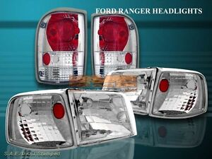 93 94 95 96 97 Ford Ranger Headlights Corner Crystal Clear Clear Tail Lights