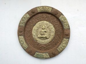 Antique Tibetan Copper Silver Buddha Fokan Shrines Plate Wall Hanging 15
