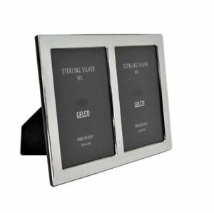 Italian 925 Sterling Silver Handmade Glossy Modern Fluted 4 X 6 Picture Frame