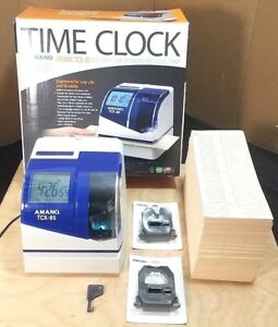 Amano Atomic Tcx 85 Electronic Time And Date Stamp Recorder Key And Time Cards