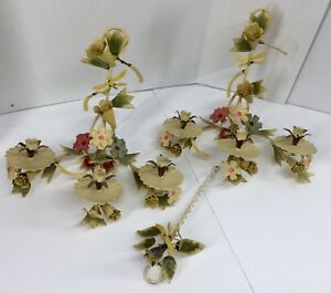 Vtg Pair Italian Metal Tole Painted Flower Leaf Dragonfly Sconces Shabby Chic