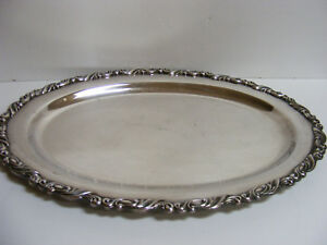 Ornate Silver Plate Butler Waiter Oval Serving Tray Oneida Silversmiths Antique