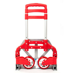 Aluminium Cart Folding Dolly Push Truck Hand Collapsible Trolley Luggage Red