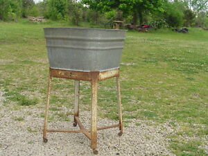 Lpu Vintage Wash Tub Galvanized With Stand Antique Laundry Clothes