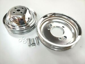 Bb Chevy Chrome Steel 2 2 Groove Short Pump Pulley Kit Upper Lower 396 454