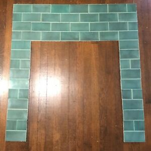 Vintage Antique Arts And Craft Fireplace Tile Surround Mantle Complete Set
