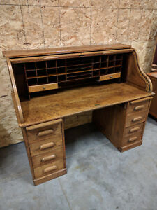 Antique Solid Oak Shipyard Roll Top Desk Arts And Crafts Era Mission Craftsman