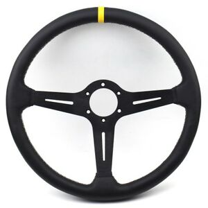 15inch 380mm Black Flat Pu Leather Universal Fit Sports Racing Steering Wheel